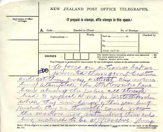 Waihi Strike Telegrams from Police Commissioner John Cullen, 9 November 1912 (4 of 5)