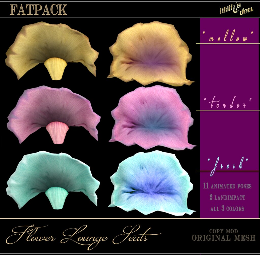 Lilith's Den Flower Lounge Seats _FATPACK - SecondLifeHub.com