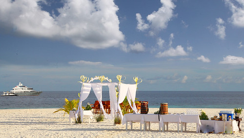 Private Beach Wedding Setup