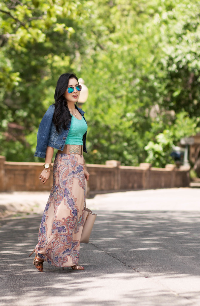 cute & little blog | denim jean jacket, white plum marseille printed paisley chiffon maxi dress, brown strappy sandals, mirrored aviators | spring summer outfit