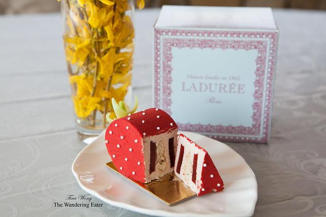Ladurée La Fraise pastry, sliced
