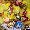 Traditional Polish pisanki - beautifully decorated Easter eggs - at a local Polish supermarket