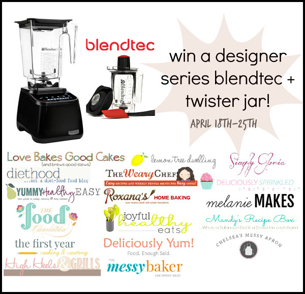 Designer Blentec with Twist Jar Giveaway - Stop by and enter for a chance to WIN!! http://www.lovebakesgoodcakes.com/2014/04/blentec-giveaway.html
