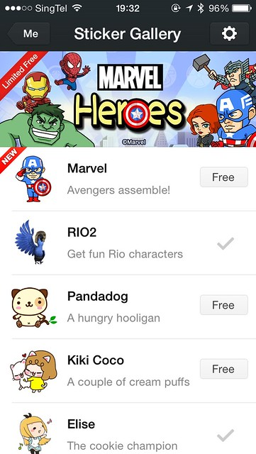 WeChat iOS App - Marvel Super Heroes Stickers