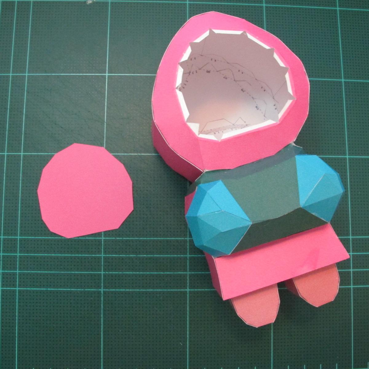 วิธีทำโมเดลกระดาษตุ้กตาคุกกี้รัน คุกกี้รสสตอเบอรี่ (LINE Cookie Run Strawberry Cookie Papercraft Model) 032