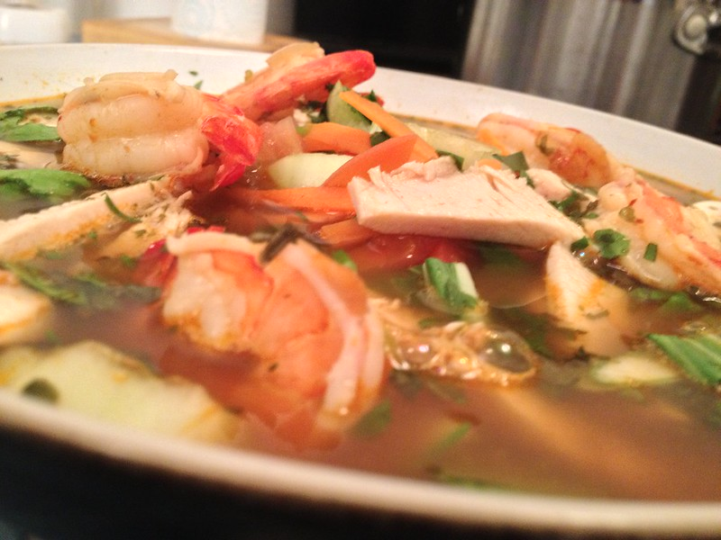 Tom Yum : Finished Dish (Side View)