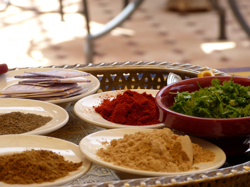 Spices during my cooking class in Marrakesh