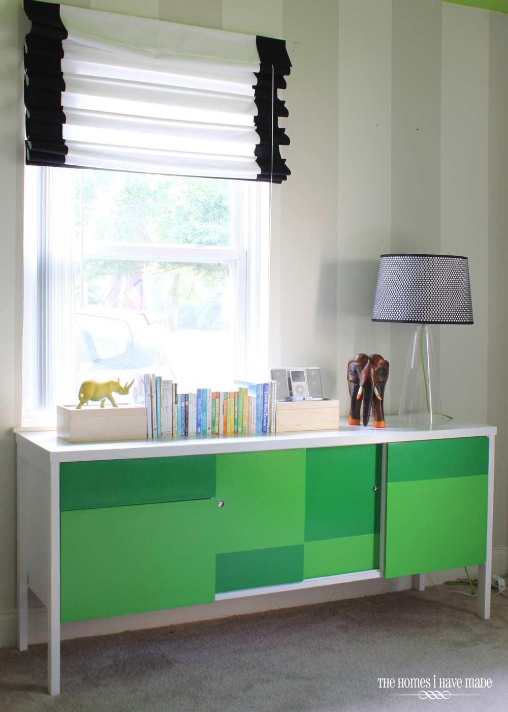 Green Color Block Credenza-007