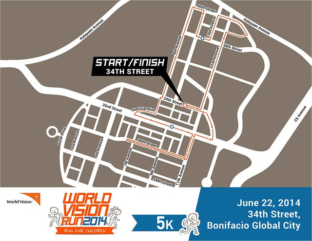 World Vision Run 2014 5k race map