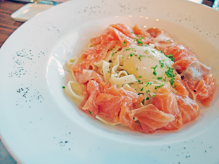 revised salmon carbonara tagliatelles