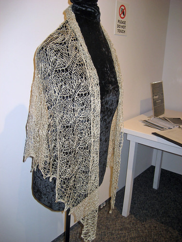 2014 Annual Juried Exhibition best in show handspun knit lace shawl in Muga silk - On Eagle's Wings