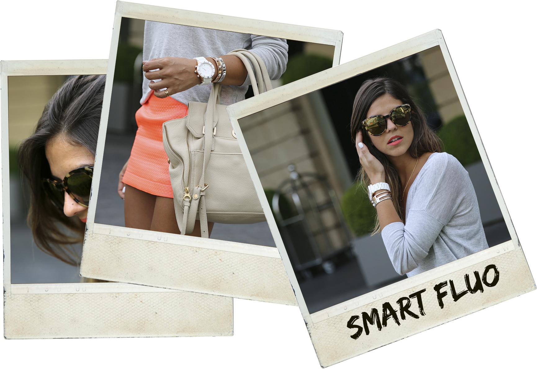 trendy_taste-look-outfit-street_style-ootd-blog-blogger-fashion_spain-moda_españa-primavera-orange-fluo-naranja_fluor_falda-sandalias_plata-silver_sandals-asos-basic_sweater-nine_west-polaroid