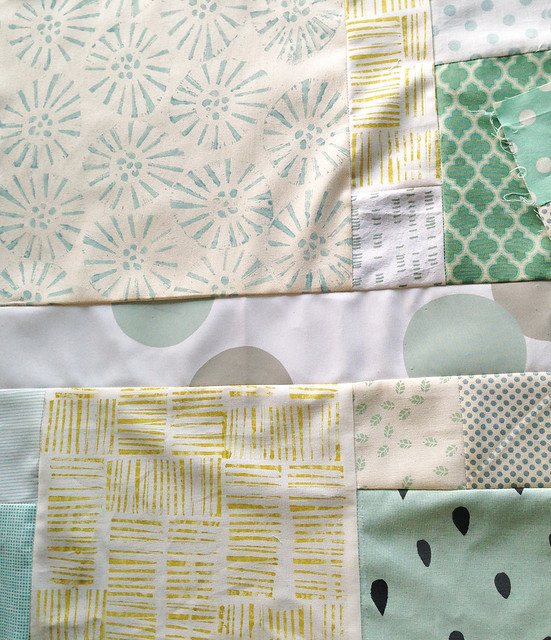 More beautiful patchwork by Josephine of @flownthecoup using pieces she stamped in the morning workshop