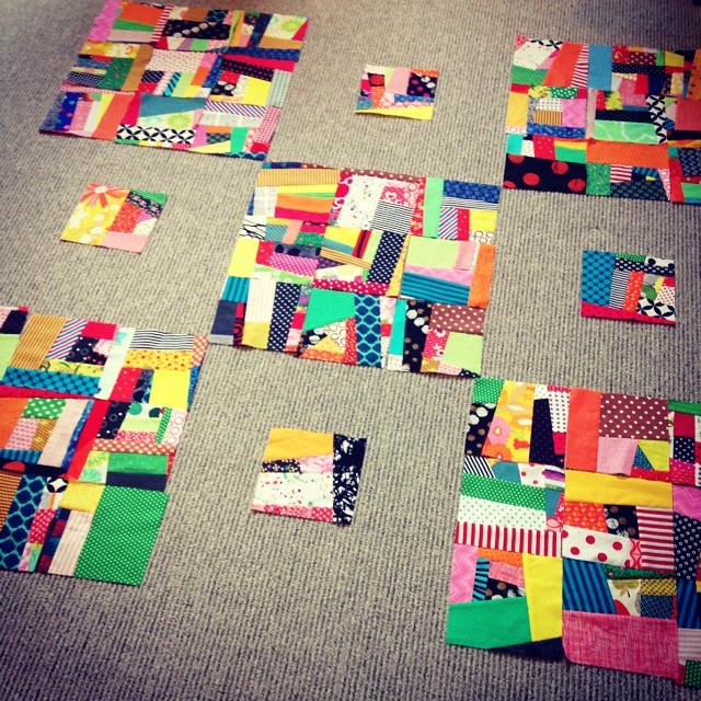 using the design floor to futz with a quilt in progress