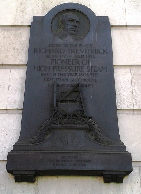 Richard Trevithick stone plaque - Close to this place Richard Trevithick, born 1771-died 1833, pioneer of high pressure steam, ran in the year 1808 the first steam locomotive to draw passengers.
