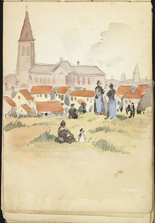 Watercolour of the village of Dunkirk  during shelling, France [Sketchbook 5, folio 5.14r] / Aquarelle du village de Dunkerque pendant le pilonnage, France [Carnet de croquis 5, folio 14r]