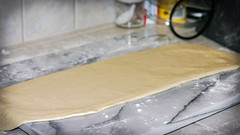 Rolling the puff pastry dough