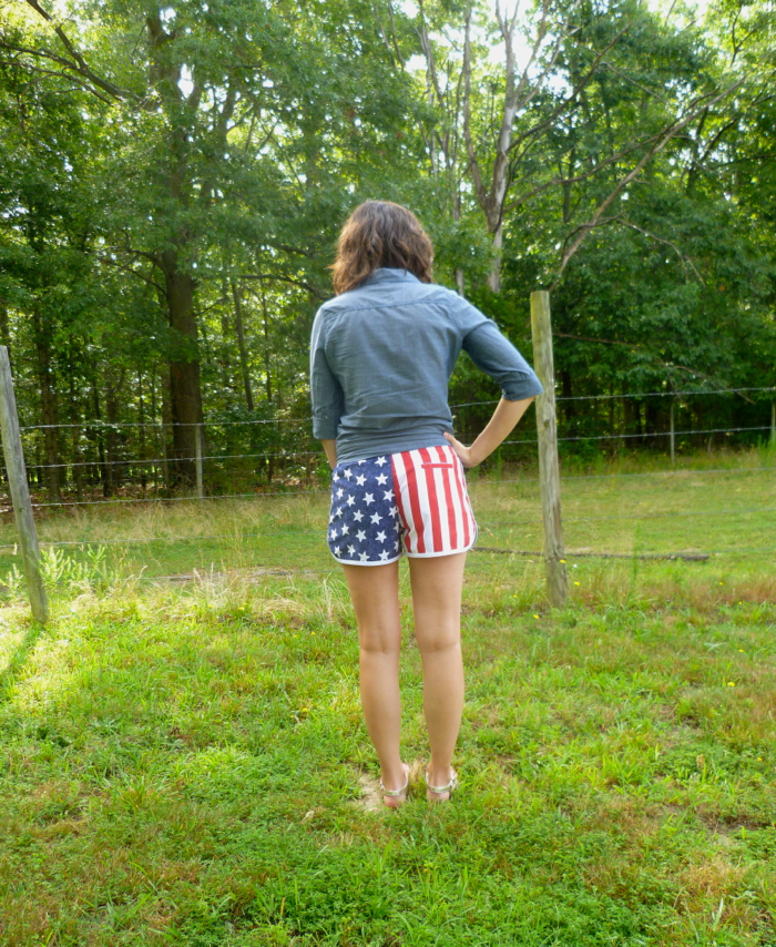Patriotic American Flag Prefontaine Shorts - back by Hey, It's SJ