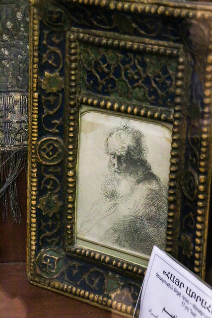 A small drawing work of Rembrandt in the museum, Vank Cathedral, Isfahan, Iran イスファハン、ヴァーンク教会博物館のレンブラント作品
