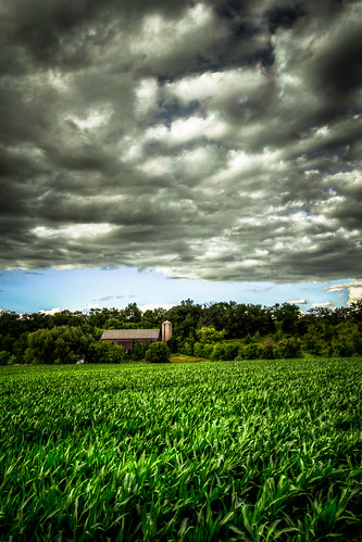 blue summer sky usa storm green nature field wisconsin clouds barn rural dark landscape evening corn skies gloomy cloudy farm horizon stormy silo crops agriculture dairy hdr 2014 greencounty tonemapped