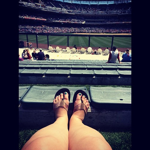 """My upper body is nicely tanned (*cough*burnedinplaces*cough*) but my legs are what I believe Benjamin Moore would call """"Canadian White."""" Here's hoping a little while in the #sandiego #sunshine will change that! #sdpadres #mlb #baseball #petcopark #parkint"""
