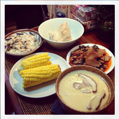 Homemade-peanuts zongzi, centry-egg-with-tofu,-corn,steamed egg with mushroom,Stir fried conchs with basil