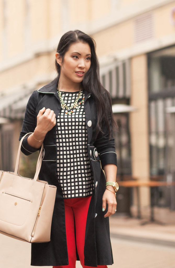 cute & little blog | black contrast piping trench, windowpane silk shirt, red sloan pants, nude gallery tote, statement necklace outfit