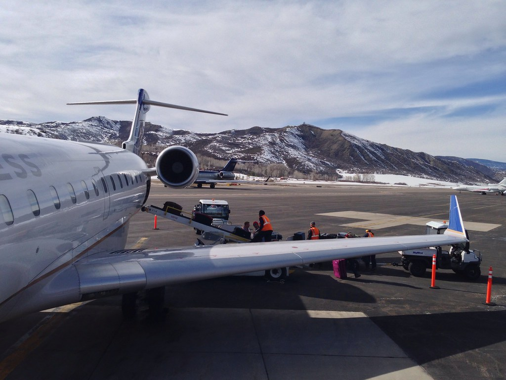 Disembarking at Aspen Pitkin County airport
