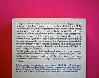 Soglie, di Gérard Genette. Einaudi 1989. Responsabilità grafica non indicata [Munari]. Quarta di copertina (part.), 2