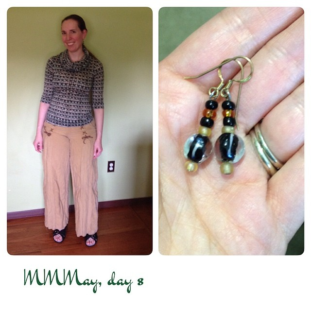 Me-mades: Burda pants (modified to knock off Anthropologie), Renfrew top, earrings. #mmmay14