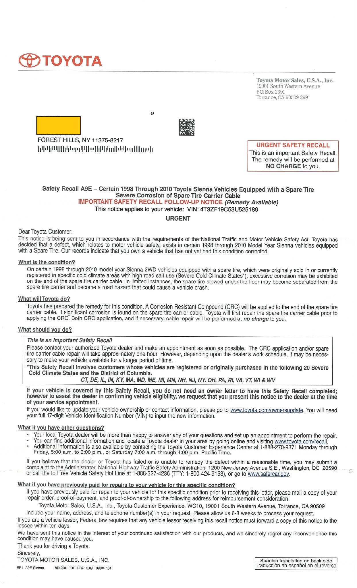 Takata Airbag Inflator Recall Fact Sheet