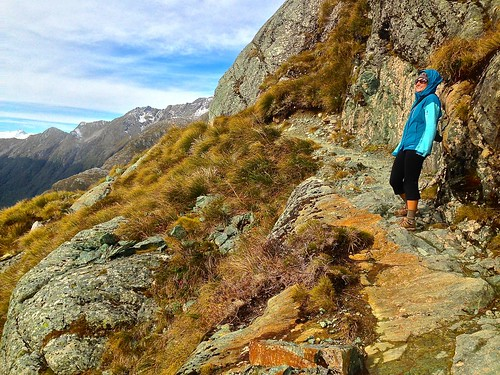 Lina enjoying the view of Lake Harris on the Routeburn Track