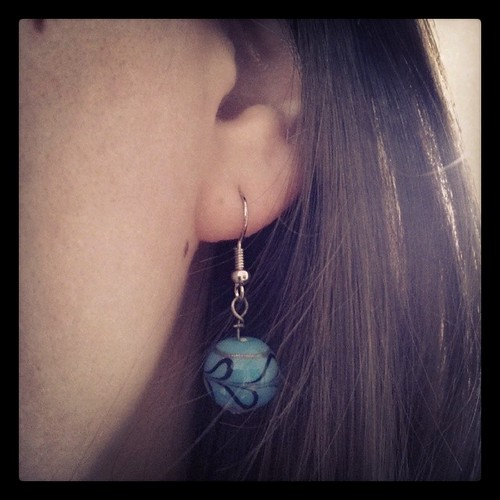 #mmmay14 Day 13: blue bead earrings