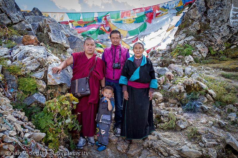 Sky Burial Family - Ganden Monastery, Tibet