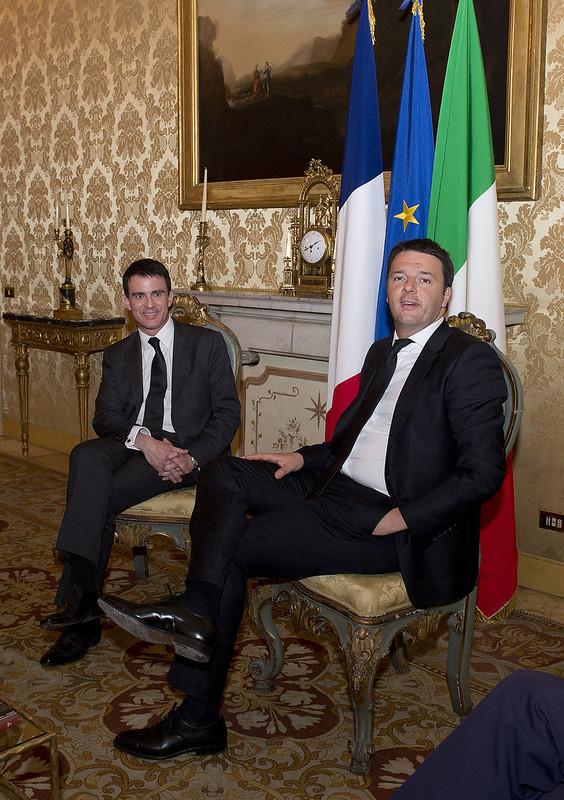 Renzi incontra il primo ministro francese Manuel Valls