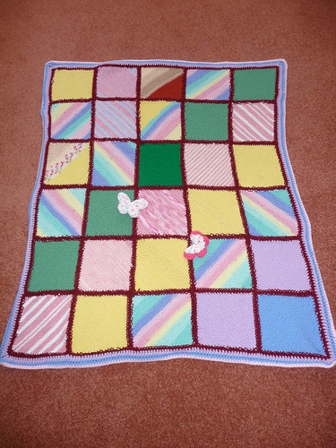 718 'Blocks and Stripes' assembled by Sally. Irene's Squares.