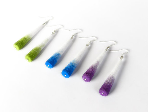 painted sand paper jewelry earrings