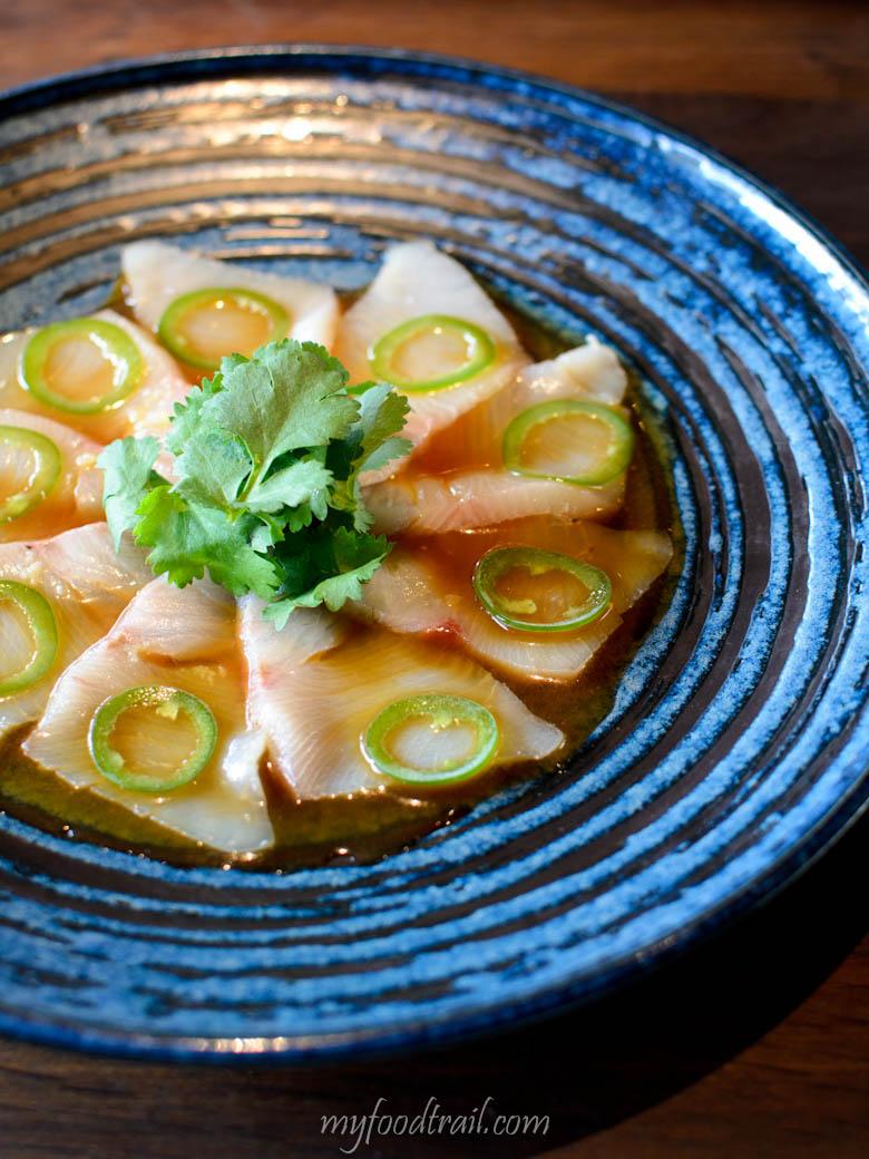 Kingfish jalapeno - yuzu soy, jalapeno slices & coriander - Sake Restaurant, Melbourne