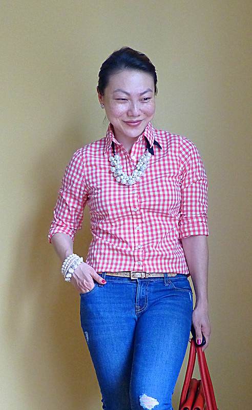 gingham + pearls