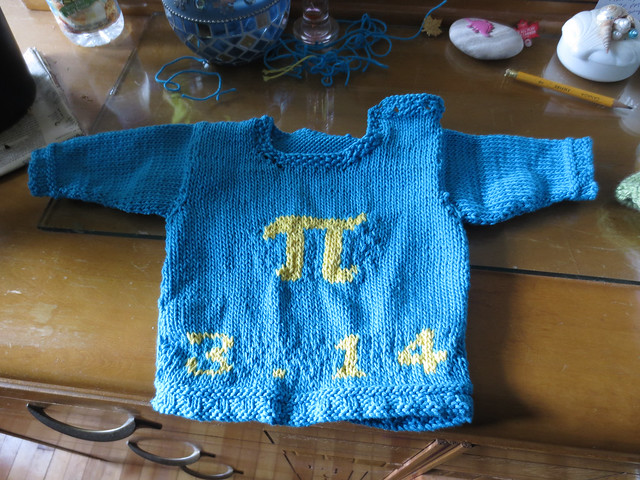Pi Baby Sweater: front, unblocked