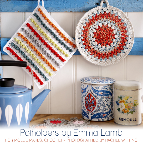 Potholder by Emma Lamb for Mollie Makes: Crochet - photographed by Rachel Whiting