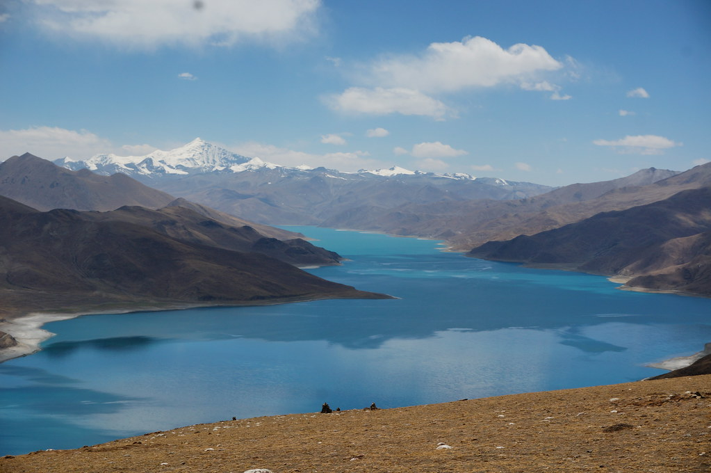 Yamdrok Lake and mountains