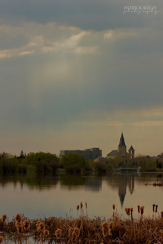lake canada color reflection church water alberta grandeprairie