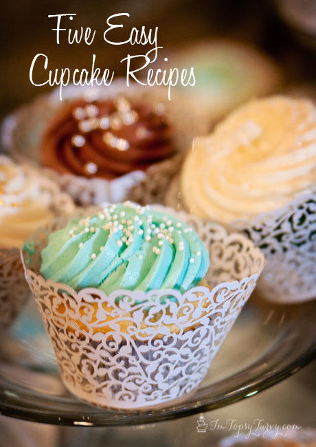 five easy cupcake recipes, made from doctored cake mix - red velvet, lemon, vanilla, chocolate and strawberry