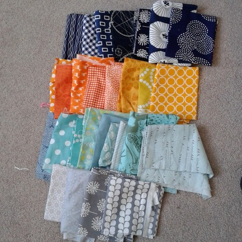 @trina_peterson hi, I've pulled these fabrics for your blocks, do they look ok generally? Just concerned i don't have much mustard, these are more oranges and yellows. Any that stand out? And it's a grey right? #stitchtease