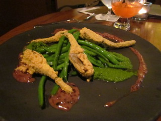 Crispy Artichoke Hearts with Beans, Basil Pesto and Tapenade at Yew