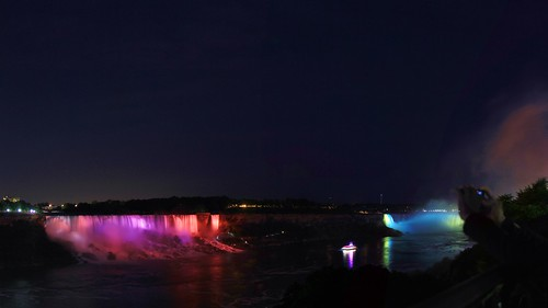 blue light summer fall water colors up june night waterfall rainbow long exposure colours veil view dusk side canadian niagra falls american waterfalls hour horseshoe lit bridal viewing nite 2014