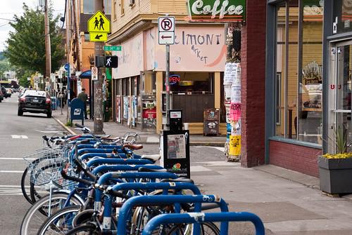 21406 Bike parking corral in front of Stumptown on Belmont