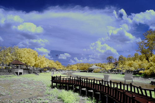 bridge autumn lake colors landscape ir nikon filter malaysia infrared johor bahru tasik d90 kering anhydrous inframerah surut kontang