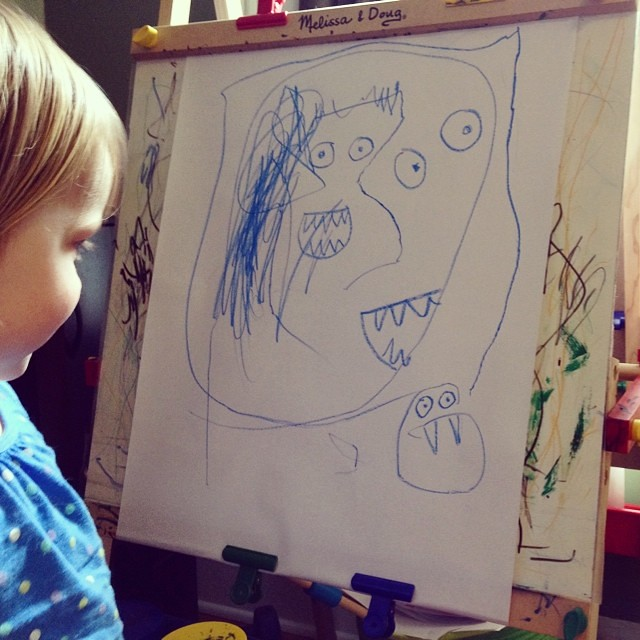 Collaborative monster-drawing (she does outlines + hair, I do eyes and mouth/teeth)